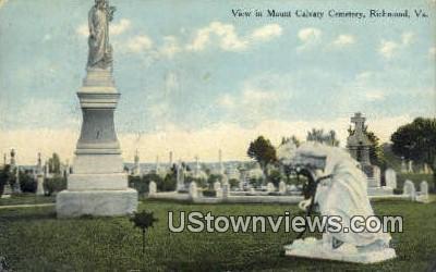 View Of Mount Calvary Cemetary  - Richmond, Virginia VA Postcard