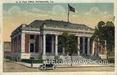 US Post Office  - Portsmouth, Virginia VA Postcard