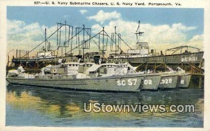 Us Navy Submarine Chasers - Portsmouth, Virginia VA Postcard