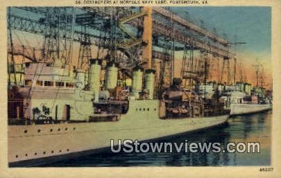 Destroyers At Norfolk Navy Yard  - Portsmouth, Virginia VA Postcard