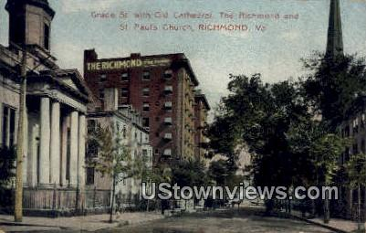Grace St With Old Cathedral  - Richmond, Virginia VA Postcard