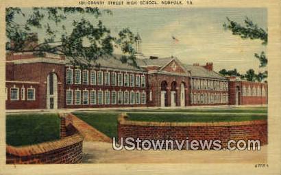 Granby Street High school  - Norfolk, Virginia VA Postcard
