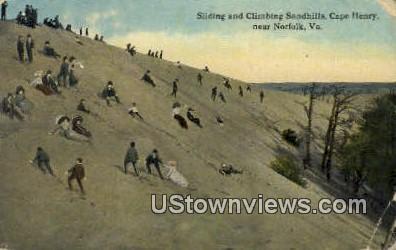 Sliding And Climbing Sandhills  - Norfolk, Virginia VA Postcard