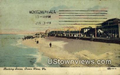Bating Scene  - Ocean View, Virginia VA Postcard