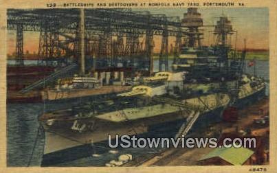 Battleships & Destroyers At Naval Yard - Portsmouth, Virginia VA Postcard