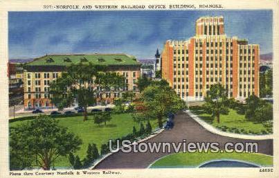 Norfolk & Western Railroad Buildings  - Roanoke, Virginia VA Postcard
