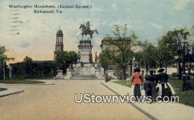 Washingtons Monument Capitol Square  - Richmond, Virginia VA Postcard