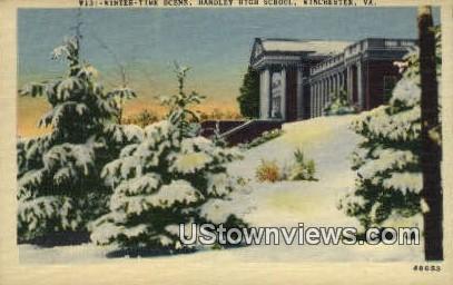Winter Time Handley High School  - Winchester, Virginia VA Postcard
