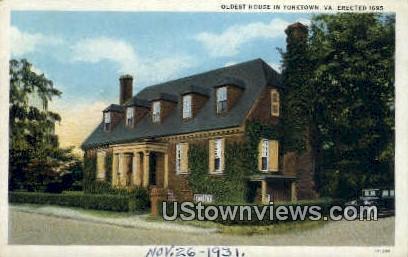 Oldest House In Yorktown  - Virginia VA Postcard
