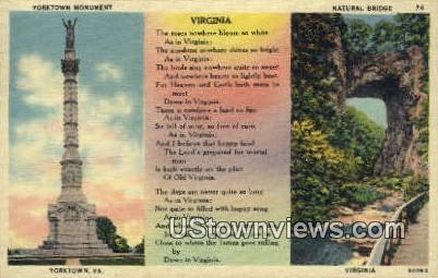 Yorktown Monument & Natural Bridge  - Virginia VA Postcard