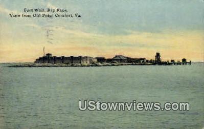 Fort Wall Rip Raps  - Old Point Comfort, Virginia VA Postcard