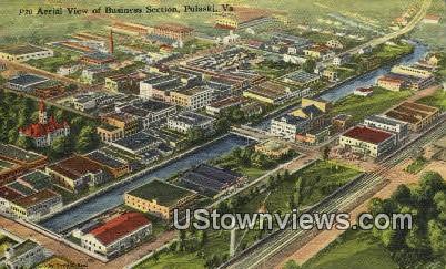 Business Section  - Pulaski, Virginia VA Postcard