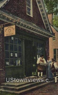 The Printing Office  - Williamsburg, Virginia VA Postcard