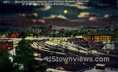New Viaduct & Roanoke Hotel - Virginia VA Postcard
