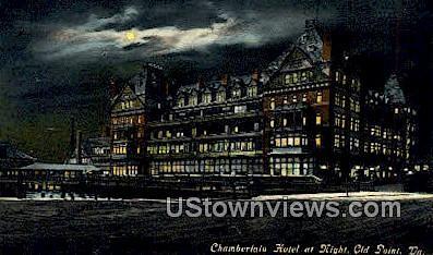 Chamberlain Hotel At Night  - Old Point Comfort, Virginia VA Postcard