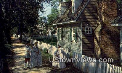 A Sidewalk Scene  - Williamsburg, Virginia VA Postcard