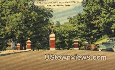 Entrance Gypsy Hill Park  - Staunton, Virginia VA Postcard