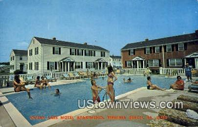 Ocean Lake Motel Apartments  - Virginia Beach Postcards, Virginia VA Postcard