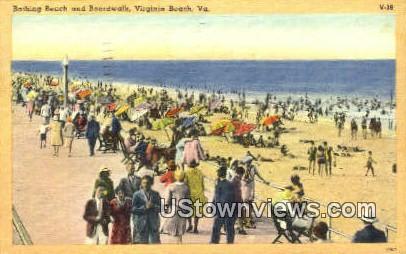 Bathing Beach And Boardwalk  - Virginia Beach Postcards, Virginia VA Postcard