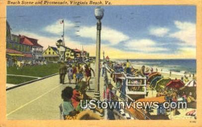Beach And Promenade  - Virginia Beach Postcards, Virginia VA Postcard