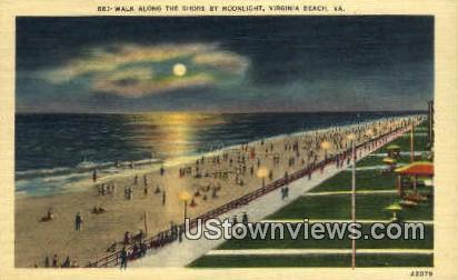 Walk Along The Shore By Moonlight  - Virginia Beach Postcards, Virginia VA Postcard
