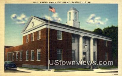 United State Post Office - Martinsville, Virginia VA Postcard