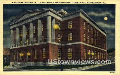 US Post Office & Court House  - Harrisonburg, Virginia VA Postcard