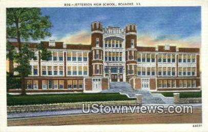 Jefferson High School - Roanoke, Virginia VA Postcard