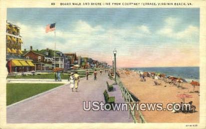 Board Walk And Shore Line  - Virginia Beach Postcards, Virginia VA Postcard