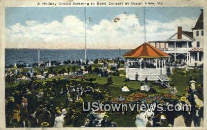Crowd Listening Band Concert  - Ocean View, Virginia VA Postcard