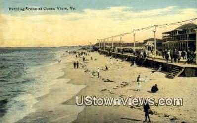Bathing Scene  - Ocean View, Virginia VA Postcard