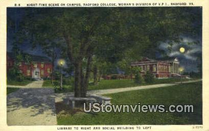 On Campus Radford College  - Virginia VA Postcard
