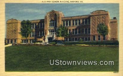 High School By Night  - Radford, Virginia VA Postcard