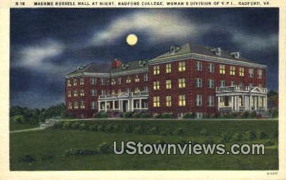 Madame Russell Hall  - Radford, Virginia VA Postcard