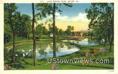 Lake Spring Park  - Salem, Virginia VA Postcard