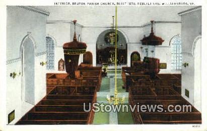 Interior Bruton Parish Church  - Williamsburg, Virginia VA Postcard