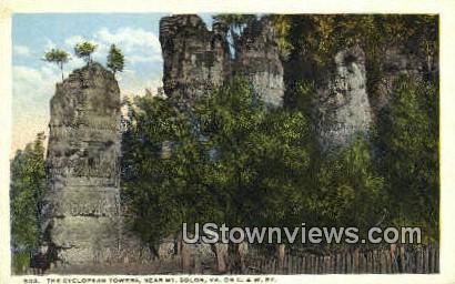 The Cyclopean Towers  - Mount Solon, Virginia VA Postcard
