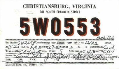 Christiansburg, Virginia, VA, Postcard