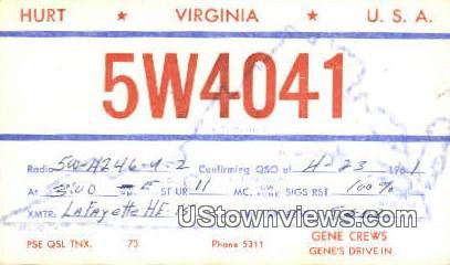 Hurt, Virginia, VA, Postcard