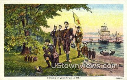 Landing At Jamestown in 1607  - Virginia VA Postcard