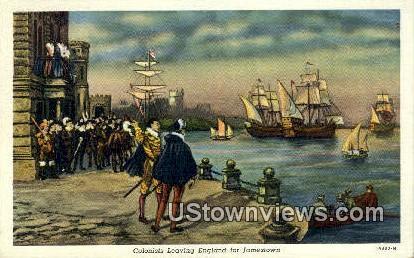 Colonist Leaving England  - Jamestown, Virginia VA Postcard