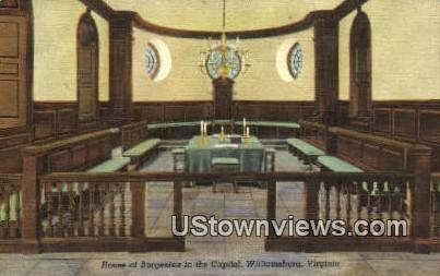 House of Burgesses In Capitol  - Williamsburg, Virginia VA Postcard