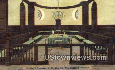 House Of Burgesses In The Capitol  - Williamsburg, Virginia VA Postcard
