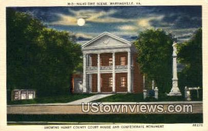 Henry County Court House By Night  - Martinsville, Virginia VA Postcard