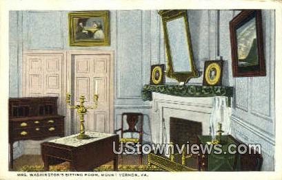 Mrs Washingtons Sitting Room - Mount Vernon, Virginia VA Postcard