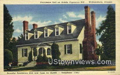 Middle Plantation Hill - Williamsburg, Virginia VA Postcard