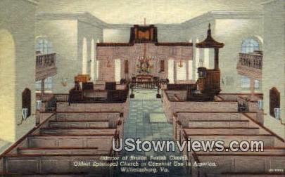 Interior Of Bruton Parish Church - Williamsburg, Virginia VA Postcard