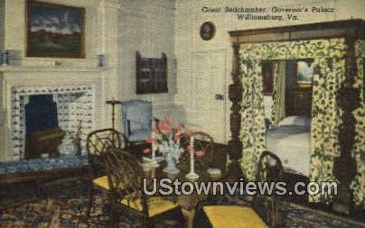 Great Bedchamber Governors Palace  - Williamsburg, Virginia VA Postcard