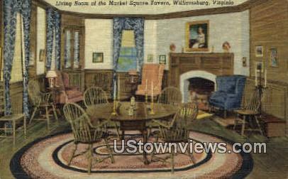 Living Room Of Market Square Tavern  - Williamsburg, Virginia VA Postcard