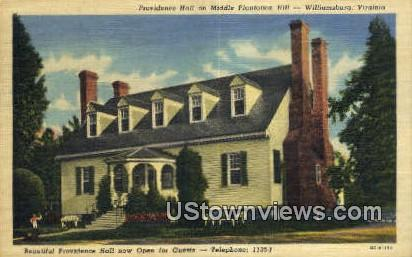 Providence Hall Middle Plantation Hill - Williamsburg, Virginia VA Postcard